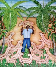 """""""The Lost Lamb"""" by Toussaint Auguste - Naive Haitian Art - 20 inches x 24 inches"""