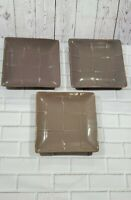 """SET OF 3 Pier 1 Stoneware CUBIC Taupe 8"""" Square Salad Luncheon Plates Brown Gray"""