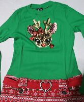 Girls Pink & Violet Christmas Rudolph Dress Red Green Sequin Holiday XL 14 / 16