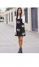 ZARA Black Floral Embroidered Mini Crotchet Dress With Wide Straps Size Small