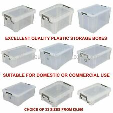 Storage Boxes + Lid Plastic Clear Boxes Clip Locking Large Store Office Home UK