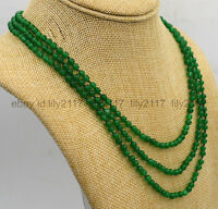 """New Fashion jewelry 3 rows 4mm green Emerald bead necklace 17-19 """""""