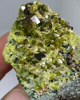 Brown Andradite garnet crystals with clinochlore mica & green epidote- Pakistan
