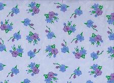 Blue / Purple  Floral Polycotton Fabric