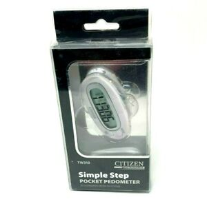 Citizen Micro HumanTech Simple Step Pocket Pedometer White LCD Display