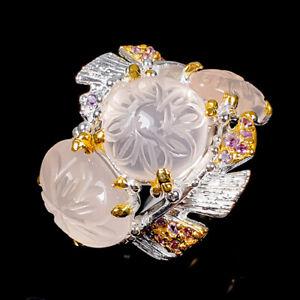 Handmade ring Rose Quartz Ring Silver 925 Sterling  Size 8.5 /R170311