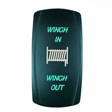 Laser  Rocker Switch MOMENTARY Push Button GREEN LED WINCH IN/OUT (ON)-OFF-(ON)