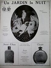 PUBLICITE DE PRESSE PARFUM ARYS UN JARDIN LA NUIT CHYPRE FLACONS FRENCH AD 1925