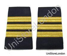 Epaulet Pilot Epaulette Sliders 3 Gold Mylar Bars First Officer Navy Blue R1300