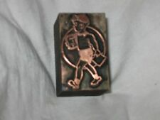 "SWEET BOY WITH SCHOOL BOOKS: COPPER ON WOOD CUT PRINTING BLOCK 1 3/4"" x 3/4"""