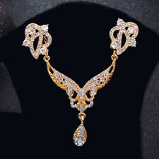 Elegant Woman Gold Plated Wedding Jewelry Set Water Drop CZ Necklace Earrings