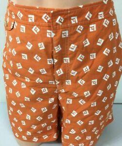 Ralph Lauren Swim Trunks Board Mens Shorts 38 Orange Geometric Beach Shop
