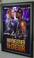 "Mayweather v McGregor  A4 Framed canvas tribute signed ""Great Gift/Souvenir"""