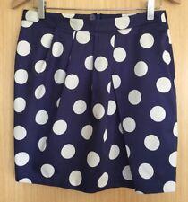 ASOS Ladies Skirt 12 Blue Spotty Polka Dot Pencil Wiggle Smart Work EUC Pleated
