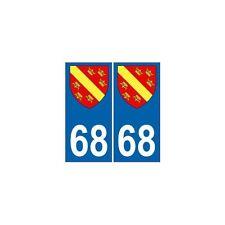 68 Haut Rhin autocollant plaque blason armoiries stickers département droits