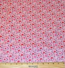 VALENTINE FABRIC! BY THE HALF YARD! QUILTING! HEARTS~ARROWS! PINK~RED
