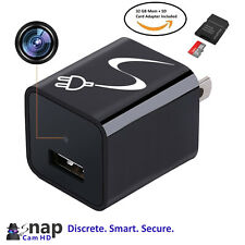 SnapCam 32GB Mem Included HD 1080P Security Camera USB AC Wireless Wall Charger