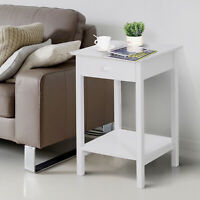 Wooden Bedside Table Cabinet W/ Drawer Shelf Storage End Side White Night Stand