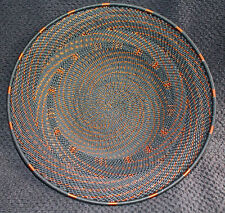 Black Copper Swirl Handmade African Zulu Telephone Wire Basket Plate Small