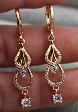 18K Yellow Gold Fille - Hollow 2-Layer Teardrop Topaz Zircon Cocktail Earrings