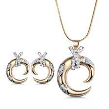 Dangle Moon Silver & Gold Filled Swarovski Crystal Lady Necklace Earrings SET