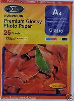 Sumvision A4 135gsm Premium Self Adhesive Gloss Photo Paper (25, 50, 100 Sheets)