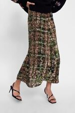 New Zara AW18 Limited Edition Sequinned Skirt Green Size S