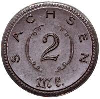 Freistaat Sachsen - Münze - 2 Mark 1921 - Adler - Meissen - schwarzes Porzellan