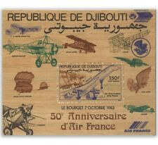 Djibouti 1983 50th Anniversary Air France Plane 250F Timber/Wood Mini Sheet MUH