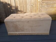 Large Lidded Footstool Foot Rest Seat Buttoned Beige Fabric Storage Box Furnitur