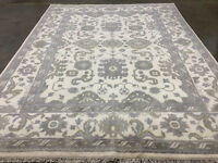 8x10 NEW MUTED WOOL RUG HAND-KNOTTED NEUTRAL ushak ivory mute handwoven handmade