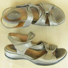 "Clarks Strappy Artisan Ankle Strappy Sandal Wedge 2"" Open Toe US 7.5 M Women"