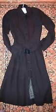 Vintage Vivid Hanae Mori Classic Black Belted Shirt Dress Made in Japan UK 10-12