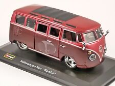 VOLKSWAGEN T1 SAMBA in Red / Maroon 1/32 scale model by Burago