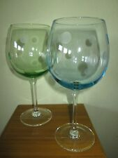 2 thumbprint dots large wine glasses 1 blue 1 green FLAWLESS CONDITION