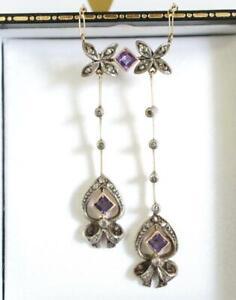 Art Deco Collier aus 585 Gelbgold mit Amethyst und Diamanten, Österreich A3067