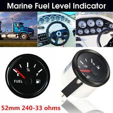 Waterproof Car SUV Marine Fuel Level Gauge Tank Indicator 52mm 12/24V 240-33Ohms
