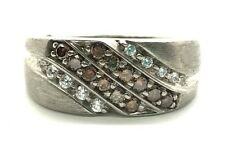 Men's Sterling Silver Sideway Brown Smoky Quartz CZ Matte Curve Band Ring 10.5