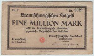 Braunschweig - Staatsbank - Inflation 1923 - 1 Million Mark