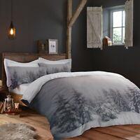 "Fusion ""Starry Night"" Christmas Xmas Snowy Winter Duvet Cover Bedding Set Grey"