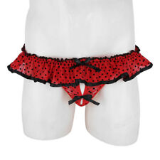 Sissy Briefs Ruffled Polka Dots Men G-string Thong Panties Underwear Red Gift
