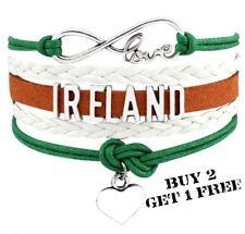 Ireland Unisex Leather Bracelet Jewellery Football Sport United Kingdom Britain