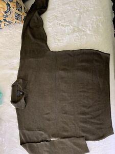 Cezani men's wool v-neck green sweater (Large; collar long sleeves