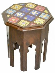 Vintage Timber Ceramic Tile Table Side Table Stool Antique Indian Moroccan Boho