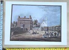 Antique Vintage Cricket Match Print: Stedman's House and School c1790: Reprint