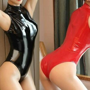 Women Sleeveless PVC Leather Leotard Bodysuit Wet Look Jumpsuit Clubwear Costume