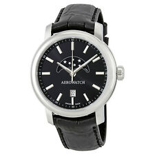 Aerowatch Renaissance Black Dial Black Leather Mens Watch A 08937 AA02