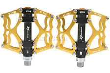 "RockBros Mountain MTB Bike Pedals Aluminum Alloy Sealed Bearing 9/16"" Gold"