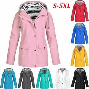 Womens Waterproof Raincoat Ladies Outdoor Wind Rain Forest Jacket Coat Rainy UK