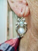 Vintage-1990's Silver Tone Rhinestone MOP Heart Pierced Earrings